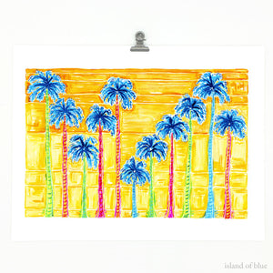 palm tree art, sunset art, colorful giclee print.