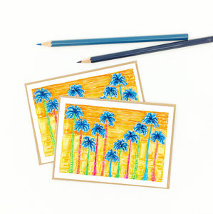 palm tree note cards, sunset palms, bright blues and oranges.
