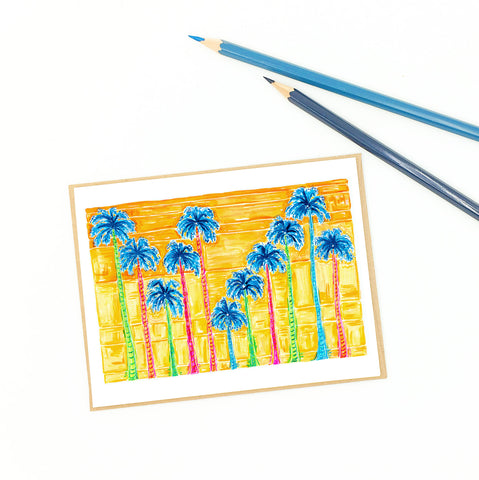 Florida greeting cards, sunset palms.