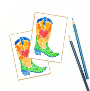 Cowboy thank you cards, colorful sunset art.