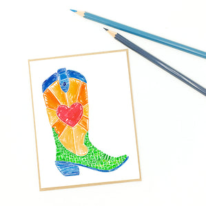 Cowgirl card, colorful greeting card.