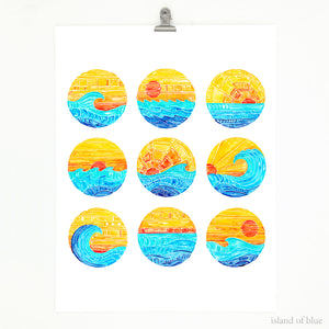 Surf art, 'Surf Gallery Series', watercolor and gouache.