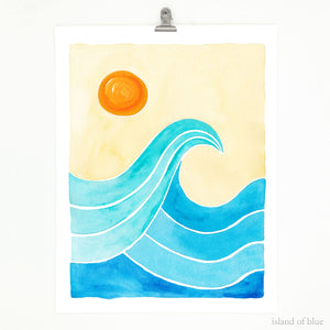 ocean wave art, surf and sunshine, clean lines.
