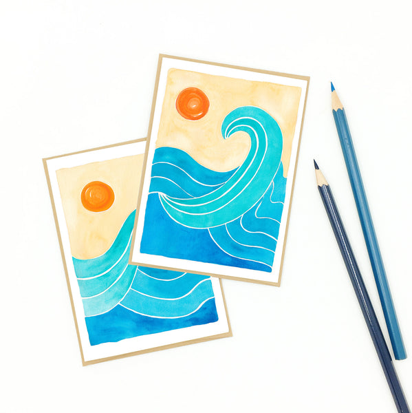 Surf notecard, set of eight (8), watercolor artwork.