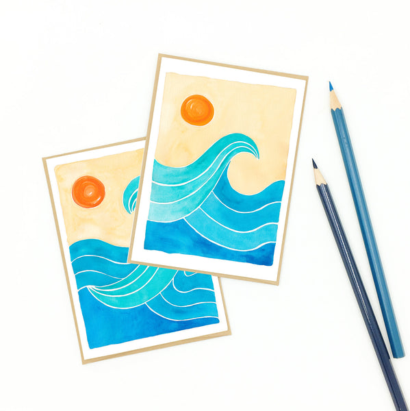 Surf notecard, thank you card, recycled cardstock.