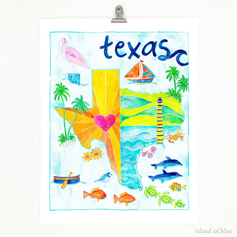 Texas map art, gulf coast of Texas, illustrative map.