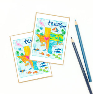 Texas notecards, illustrative map, gulf coast art.