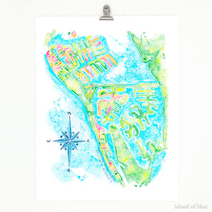 Treasure Island, Florida map art.