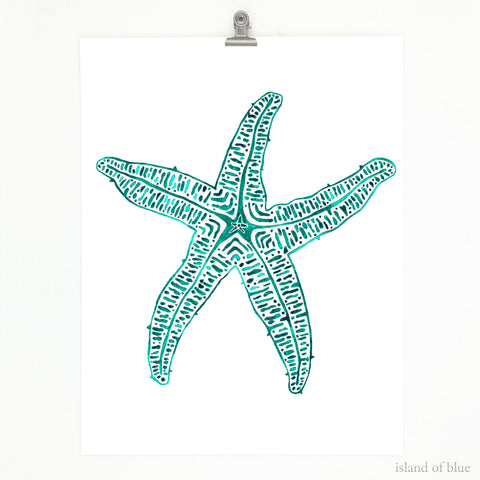 Starfish artwork, simple starfish art, watercolor.