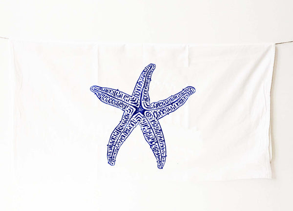 Starfish Tea Towel - Navy - Coastal Decor