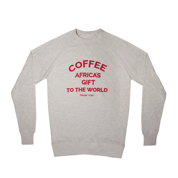 Unisex Sweatshirt - Africa's Gift - Oatmeal/Red - Red Bay Coffee