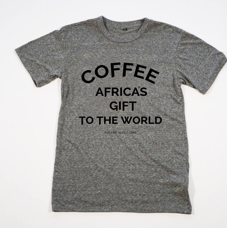 Unisex Tee - Africa's Gift - Heather Gray with Black Print red-bay-coffee Merchandise.