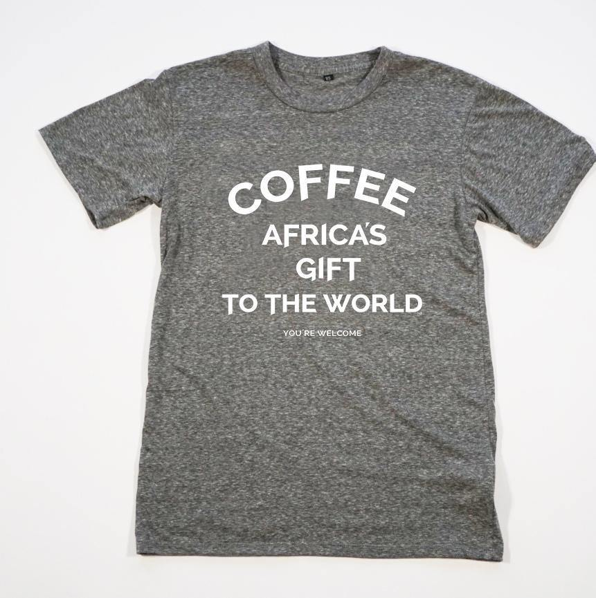 Unisex Tee - Africa's Gift - Heather Gray with White Print red-bay-coffee Merchandise