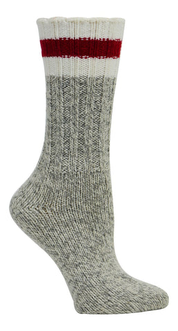 Kodiak Women's Merino Wool Blend Work Socks - Grey/Red