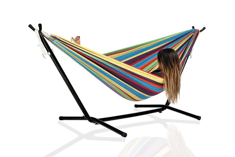 Double Cotton Fabric Hammock with 9-Foot Stand and Portable Carrying Case