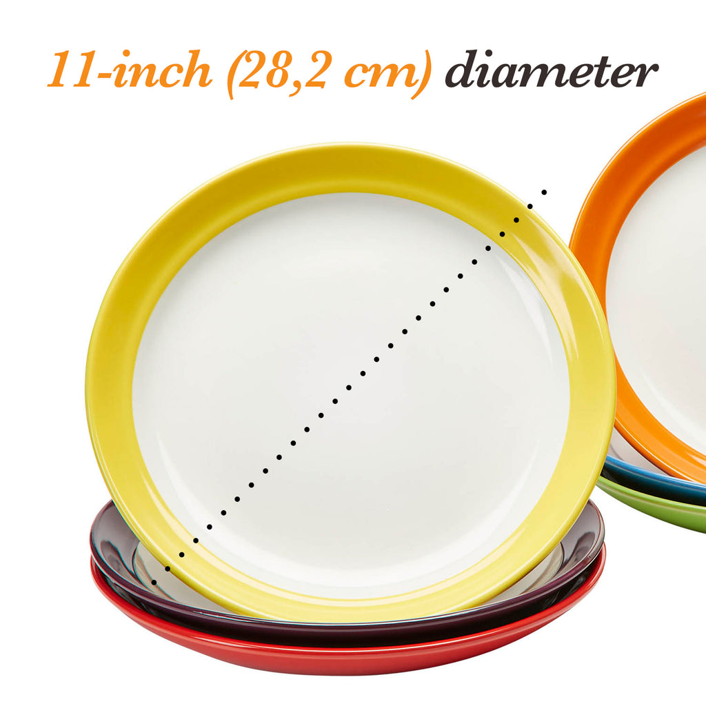 Amethya Premium Ceramic  Set of 6, Colorful Meal Stoneware (Dinner Plates)