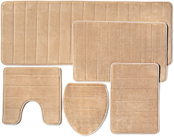 Over the Floor Bathroom Rug Mat, 5-Piece Set Memory Foam, Extra Soft Non-Slip Back (Beige)