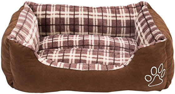 Animals Favorite New Rectangle Pet Bed with Dog Paw Print (Checkered and Brown)