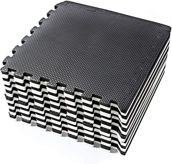 Over the Floor Interlocking Floor Tiles, EVA Foam Puzzle Mat with Borders - Black and White, 16 SQ. FT (16 Tiles) (Black & White)