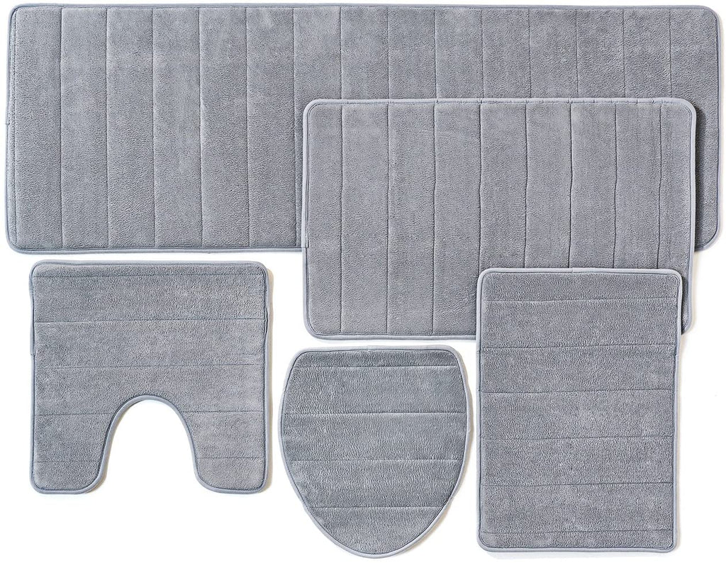 Over the Floor Bathroom Rug Mat, 5-Piece Set Memory Foam, Extra Soft Non-Slip Back (Gray)