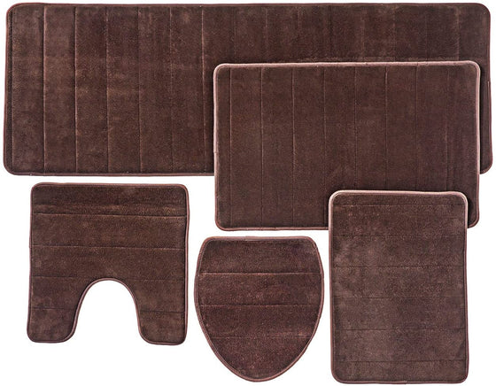 Over the Floor Bathroom Rug Mat, 5-Piece Set Memory Foam, Extra Soft Non-Slip Back (Brown)