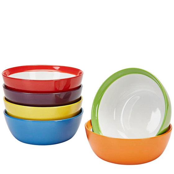 Premium Ceramic Set of 6, Colorful Meal Stoneware (Breakfast Bowls)