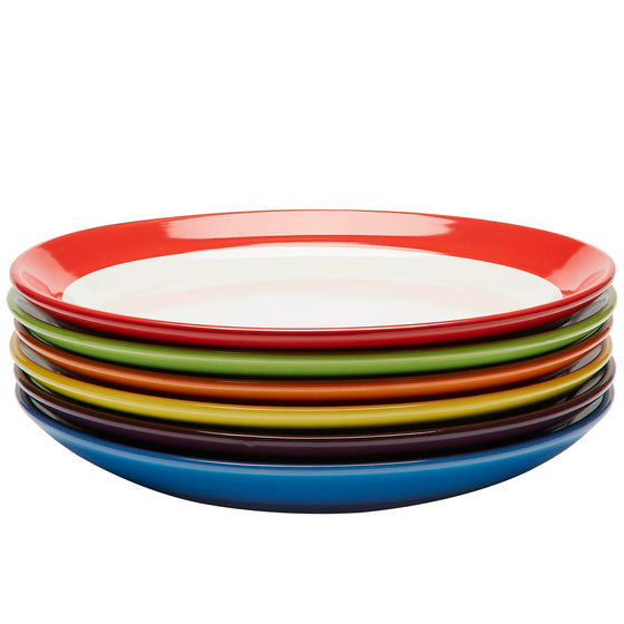Premium Ceramic  Set of 6, Colorful Meal Stoneware (Dinner Plates)