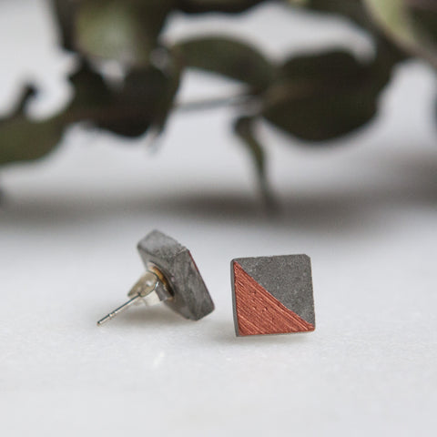 Concrete Earrings Square Stud Copper Hanover Designs