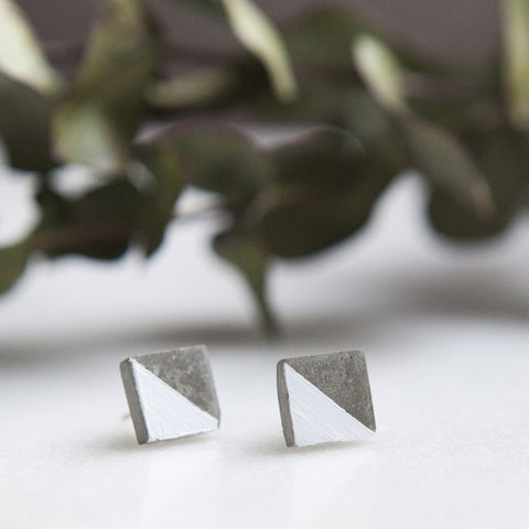 Concrete Earrings Square Stud White Hanover Designs