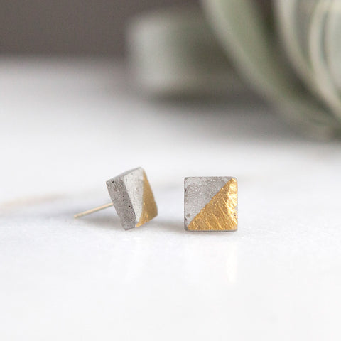 Concrete Earrings Square Stud Gold Hanover Designs