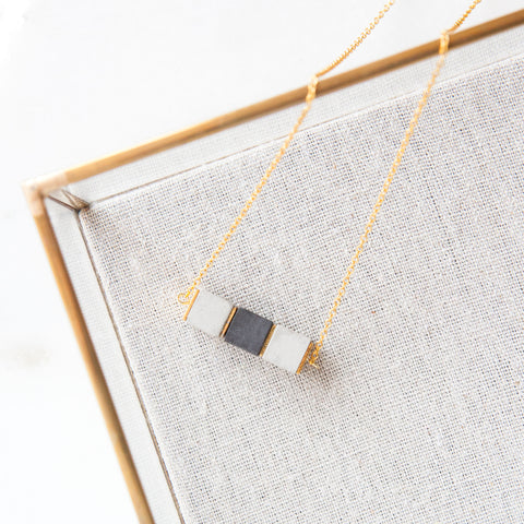 Concrete & Gold Bead Necklace Bi-Color Cubes