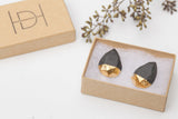 Concrete Earrings Gold Leaf with packaging Hanover Designs