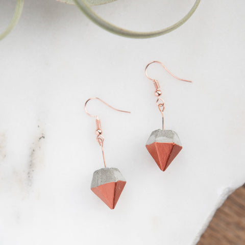 Concrete Earrings Copper Diamond