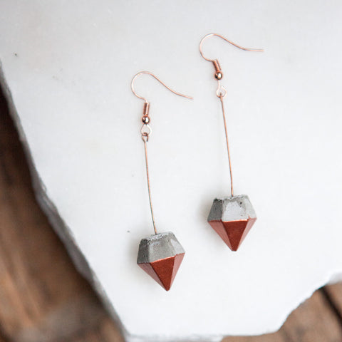 Concrete Earrings Copper Diamond Hanover Designs