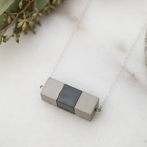 Concrete Cube Necklace