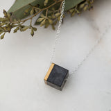 Concrete Cube Necklace Gold (dark)