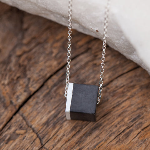 Concrete necklace lightweight cube