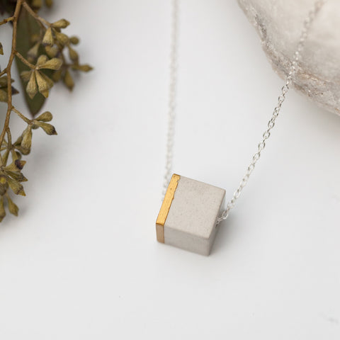 Concrete Cube Necklace Gold (light)