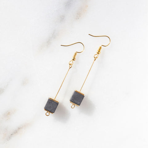 Concrete & Gold Bead Cube Earrings (Dark)