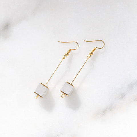 Concrete & Gold Bead Cube Earrings (Light)