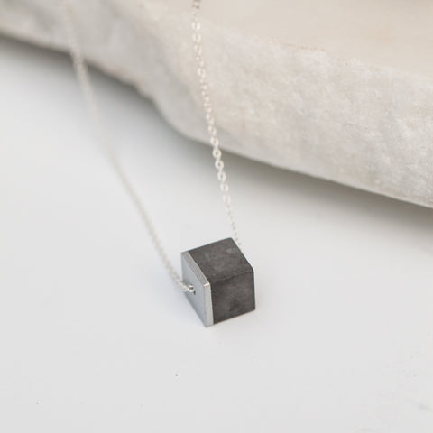 Concrete Cube Necklace Silver (dark)