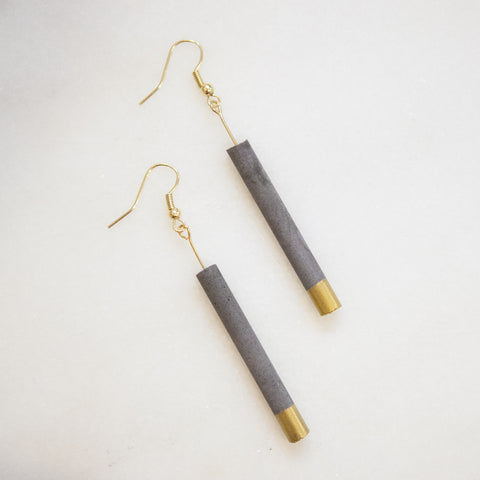 Concrete Earrings Gold Cylinder