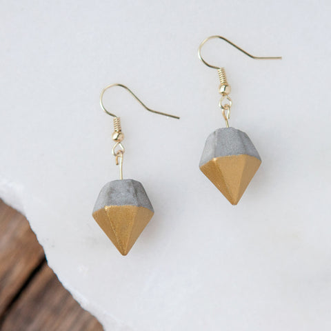 Concrete Earrings Gold Diamond