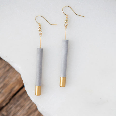 Concrete Earrings Gold Cylinder Hanover Designs