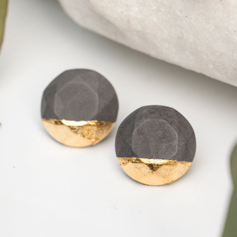 Concrete Earrings Gold Leaf Hanover Designs