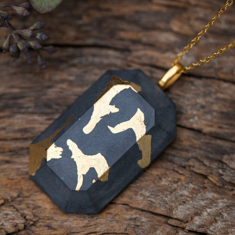 Concrete Necklace Gold Leaf Hanover Designs