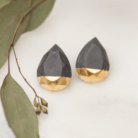 Concrete Earrings Dark Gold Leaf Hanover Designs