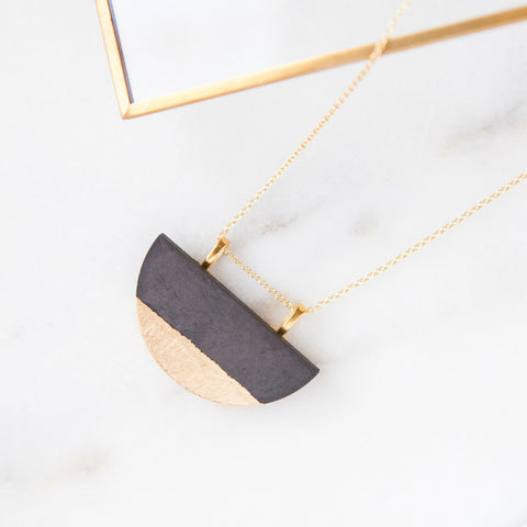 Concrete Half-moon Gold Leaf Necklace