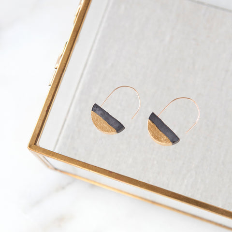 Concrete Half-moon Gold Leaf Earrings