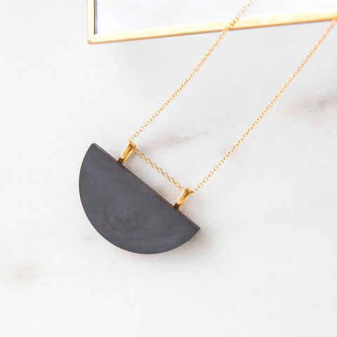 Concrete Half-moon Necklace (Dark)